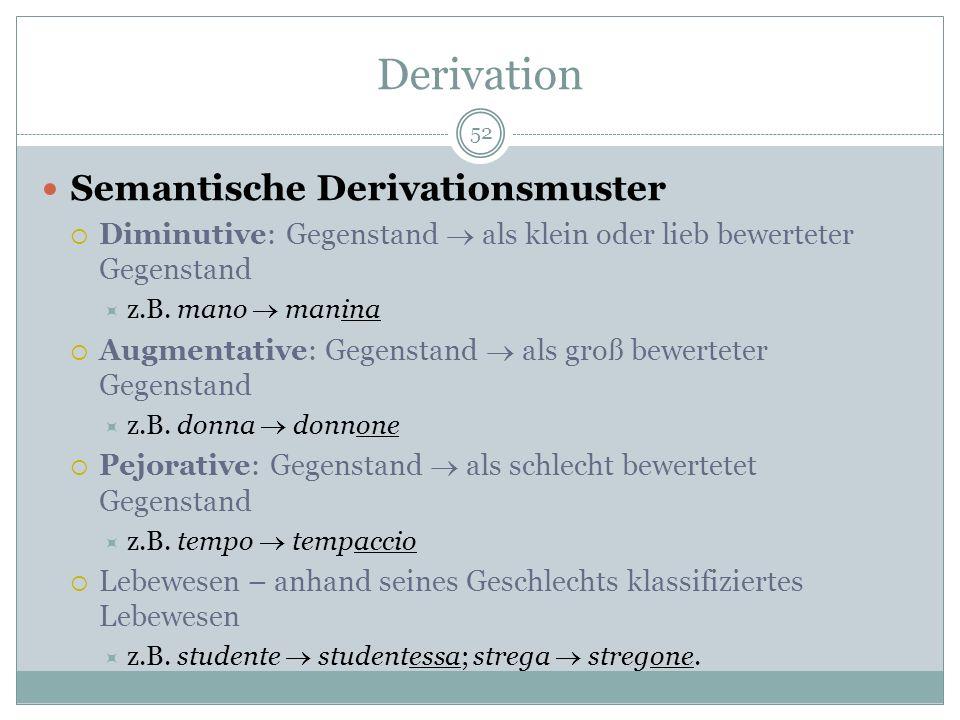 Derivation 52 Semantische Derivationsmuster Diminutive: Gegenstand als klein oder lieb bewerteter Gegenstand z.B. mano manina Augmentative: Gegenstand