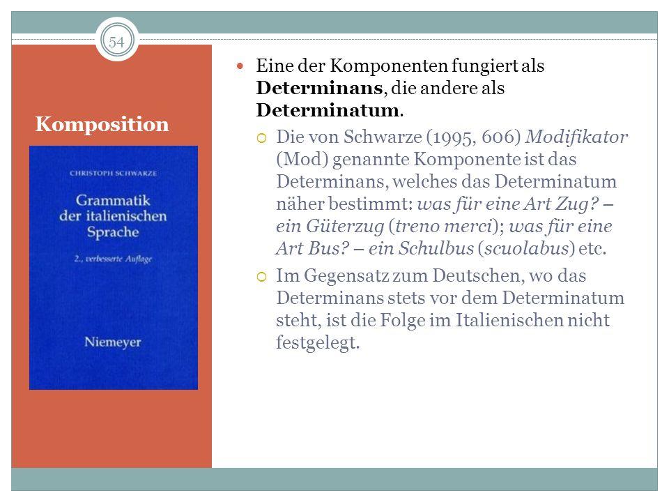 Komposition Eine der Komponenten fungiert als Determinans, die andere als Determinatum. Die von Schwarze (1995, 606) Modifikator (Mod) genannte Kompon