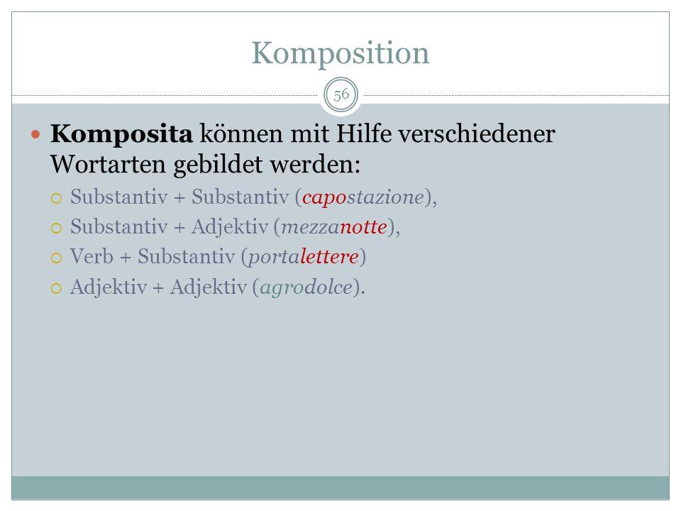 Komposition 56 Komposita können mit Hilfe verschiedener Wortarten gebildet werden: Substantiv + Substantiv (capostazione), Substantiv + Adjektiv (mezz