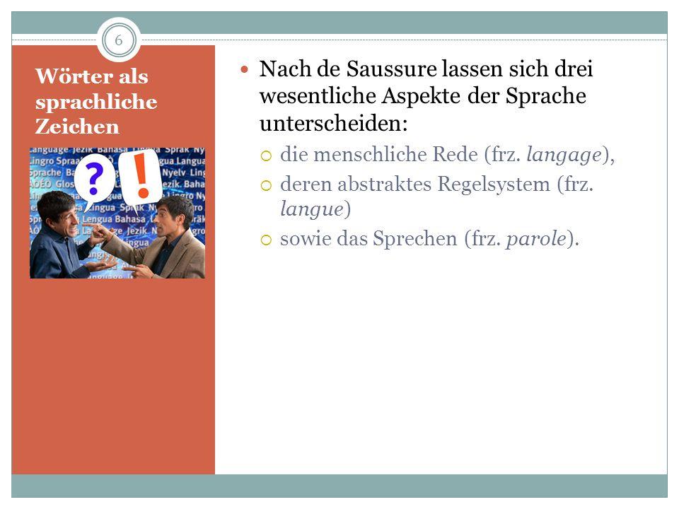 Wörter als sprachliche Zeichen Nach de Saussure lassen sich drei wesentliche Aspekte der Sprache unterscheiden: die menschliche Rede (frz. langage), d