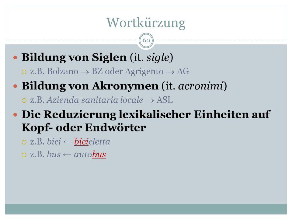 Wortkürzung 60 Bildung von Siglen (it. sigle) z.B. Bolzano BZ oder Agrigento AG Bildung von Akronymen (it. acronimi) z.B. Azienda sanitaria locale ASL