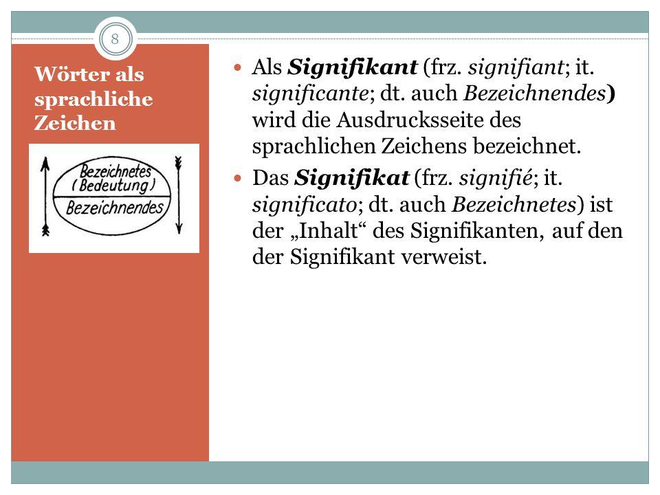 Wörter als sprachliche Zeichen Das sprachliche Zeichen setzt sich aus Signifikant und Signifikat sowie der Verknüpfung dieser beiden Pole (= Referenz) zusammen.