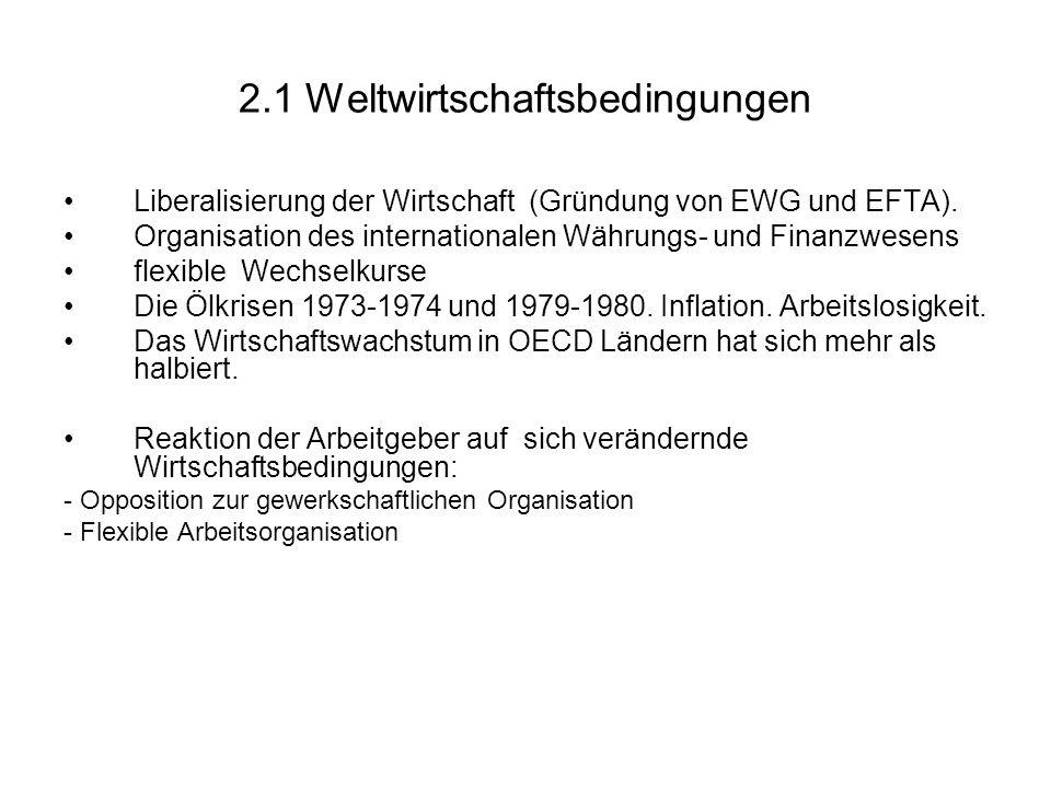 2.1 Weltwirtschaftsbedingungen Liberalisierung der Wirtschaft (Gründung von EWG und EFTA).