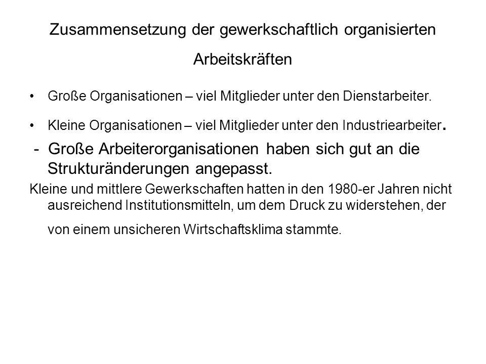 Zusammensetzung der gewerkschaftlich organisierten Arbeitskräften Große Organisationen – viel Mitglieder unter den Dienstarbeiter.