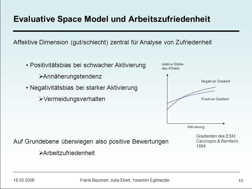 16.05.2008 Frank Baumert, Julia Ebert, Yasemin Egilmezler 10 Affektive Dimension (gut/schlecht) zentral für Analyse von Zufriedenheit Positivitätsbias