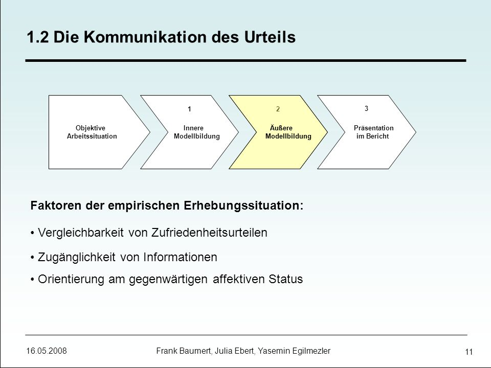 16.05.2008 Frank Baumert, Julia Ebert, Yasemin Egilmezler 11 Faktoren der empirischen Erhebungssituation: Vergleichbarkeit von Zufriedenheitsurteilen