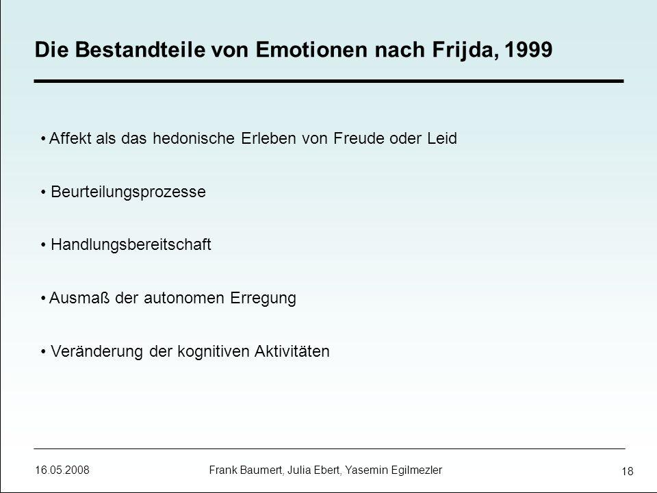 16.05.2008 Frank Baumert, Julia Ebert, Yasemin Egilmezler 18 Die Bestandteile von Emotionen nach Frijda, 1999 Affekt als das hedonische Erleben von Fr