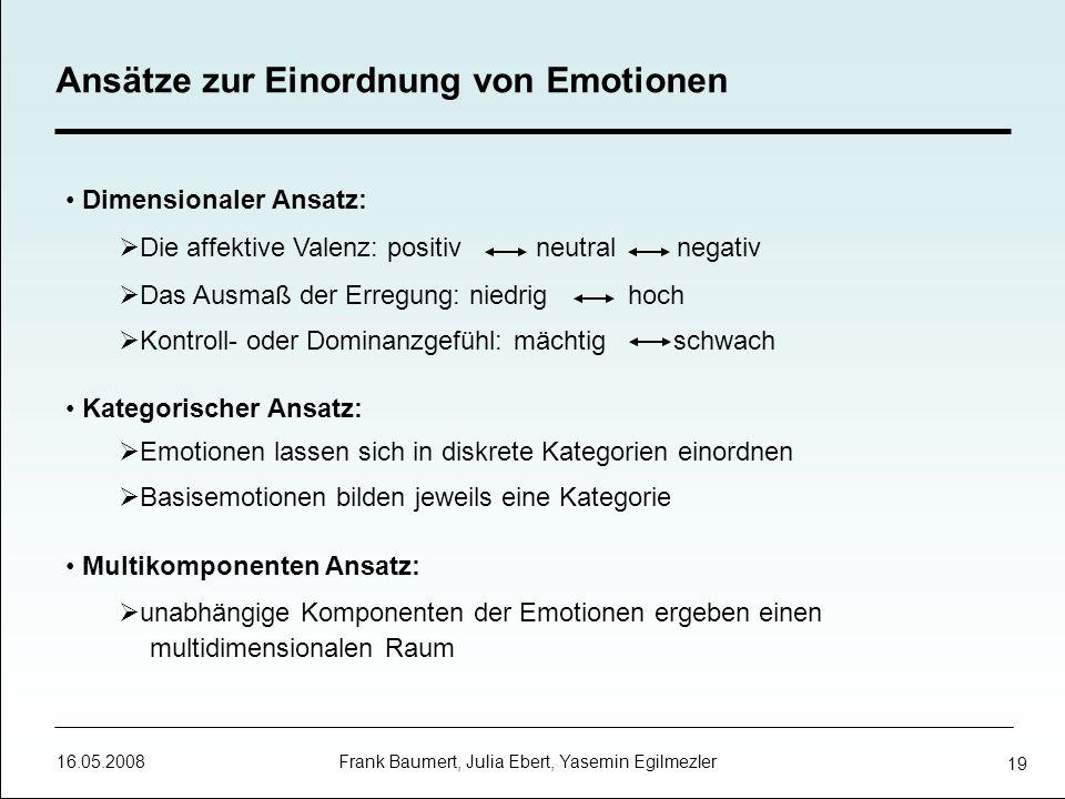 16.05.2008 Frank Baumert, Julia Ebert, Yasemin Egilmezler 19 Ansätze zur Einordnung von Emotionen Dimensionaler Ansatz: Die affektive Valenz: positiv