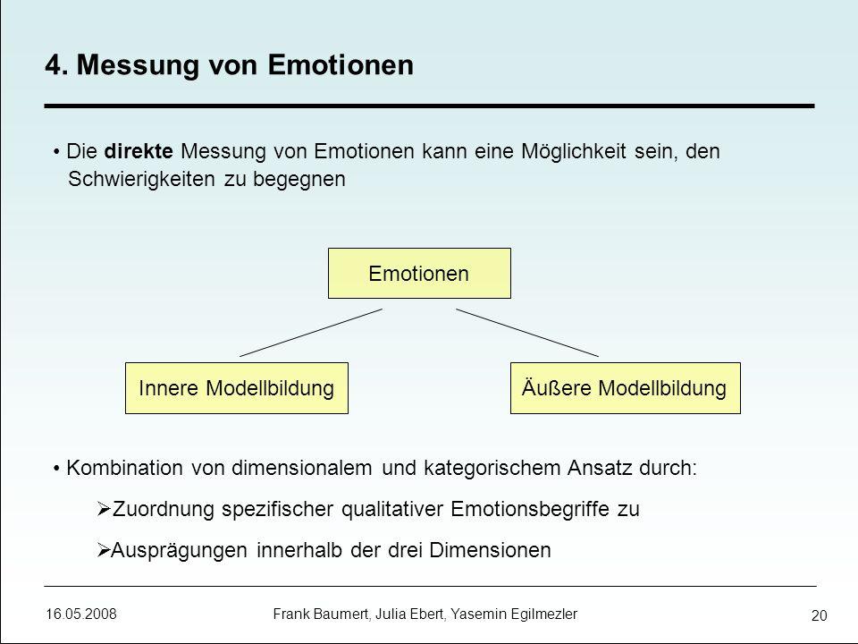 16.05.2008 Frank Baumert, Julia Ebert, Yasemin Egilmezler 20 Die direkte Messung von Emotionen kann eine Möglichkeit sein, den Schwierigkeiten zu bege