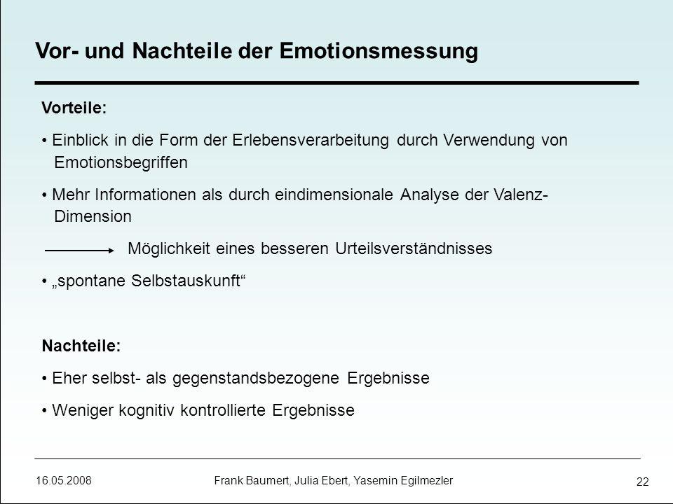 16.05.2008 Frank Baumert, Julia Ebert, Yasemin Egilmezler 22 Vorteile: Einblick in die Form der Erlebensverarbeitung durch Verwendung von Emotionsbegr