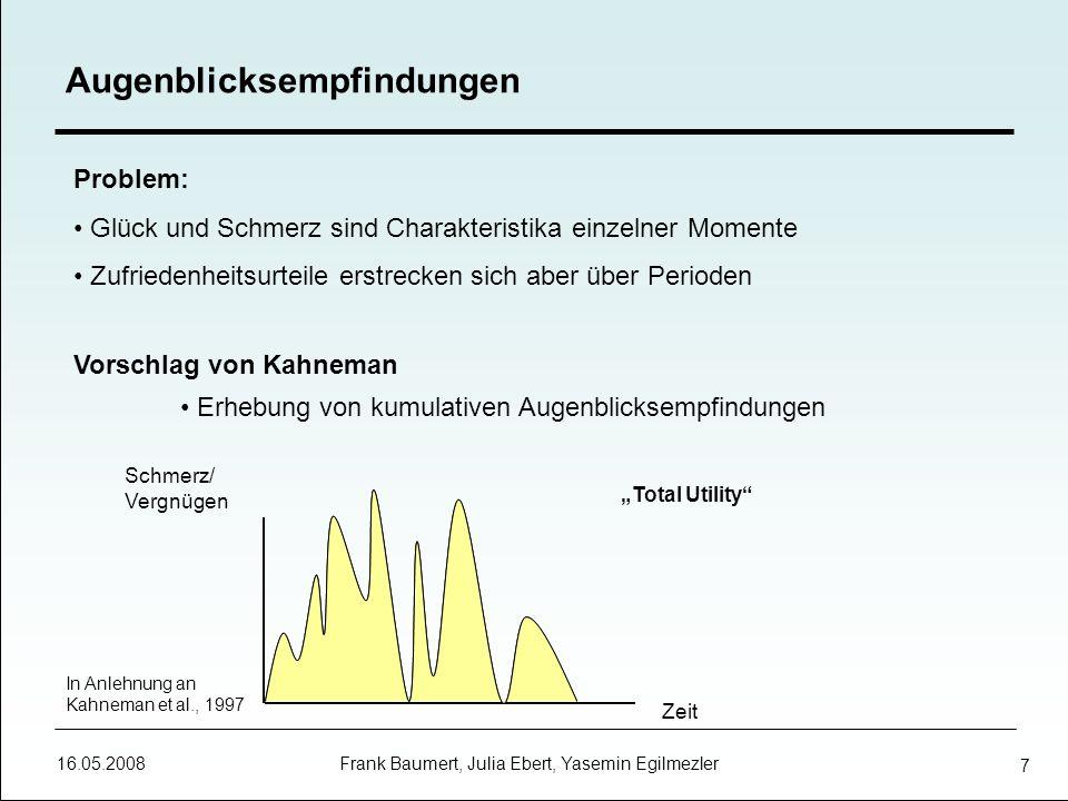 16.05.2008 Frank Baumert, Julia Ebert, Yasemin Egilmezler 8 Experiment (Frederickson & Kahneman, 1993): Probanden wurden verschiedene Filmsequenzen vorgespielt Gefragt nach Echtzeitbericht und retrospektives globales Urteil Ergebnis: Peak-End-Rule Individuen konstruieren repräsentativen Moment Abschlussphase erhält erhebliche Bedeutung Bewertung vergangener Erfahrungen Fazit: Unzuverlässige Erinnerung an Vergnügen und Schmerzen leitet das menschliche Handeln, erzeugt fehlerhafte Schätzungen und hat deshalb eine verzerrende Wirkung
