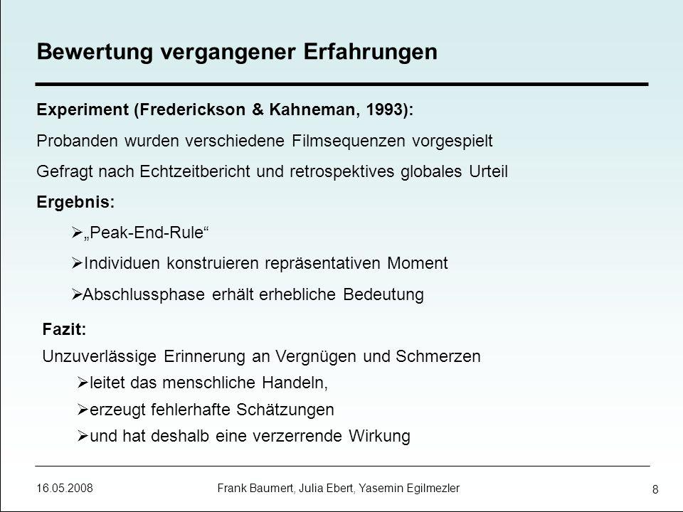 16.05.2008 Frank Baumert, Julia Ebert, Yasemin Egilmezler 19 Ansätze zur Einordnung von Emotionen Dimensionaler Ansatz: Die affektive Valenz: positiv neutral negativ Das Ausmaß der Erregung: niedrig hoch Kontroll- oder Dominanzgefühl: mächtig schwach Kategorischer Ansatz: Emotionen lassen sich in diskrete Kategorien einordnen Basisemotionen bilden jeweils eine Kategorie Multikomponenten Ansatz: unabhängige Komponenten der Emotionen ergeben einen multidimensionalen Raum