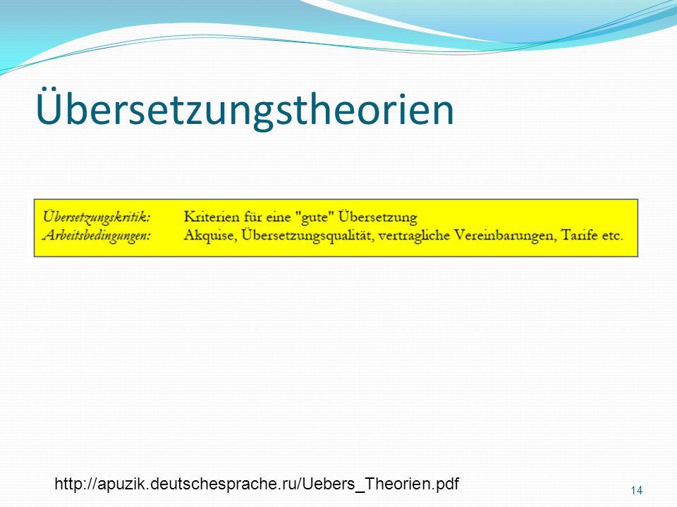 Übersetzungstheorien http://apuzik.deutschesprache.ru/Uebers_Theorien.pdf 14