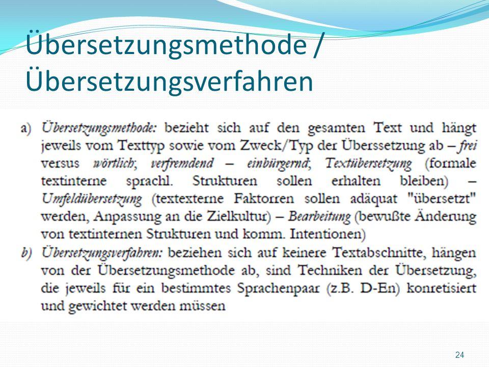 Übersetzungsmethode / Übersetzungsverfahren 24