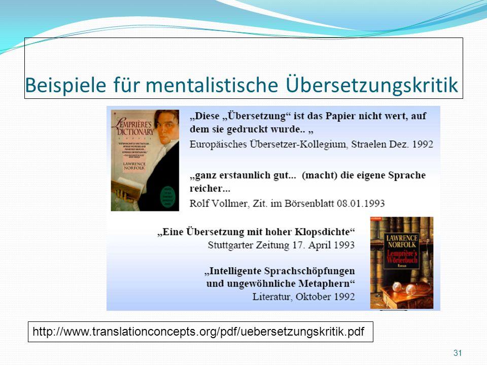 Beispiele für mentalistische Übersetzungskritik 31 http://www.translationconcepts.org/pdf/uebersetzungskritik.pdf