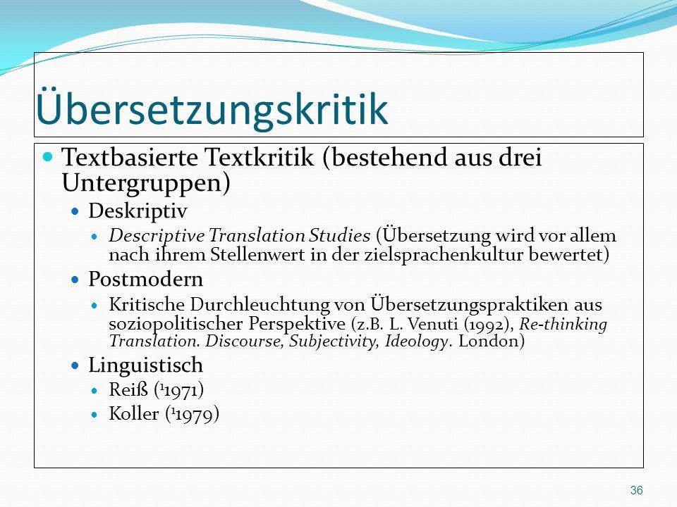 Übersetzungskritik Textbasierte Textkritik (bestehend aus drei Untergruppen) Deskriptiv Descriptive Translation Studies (Übersetzung wird vor allem na