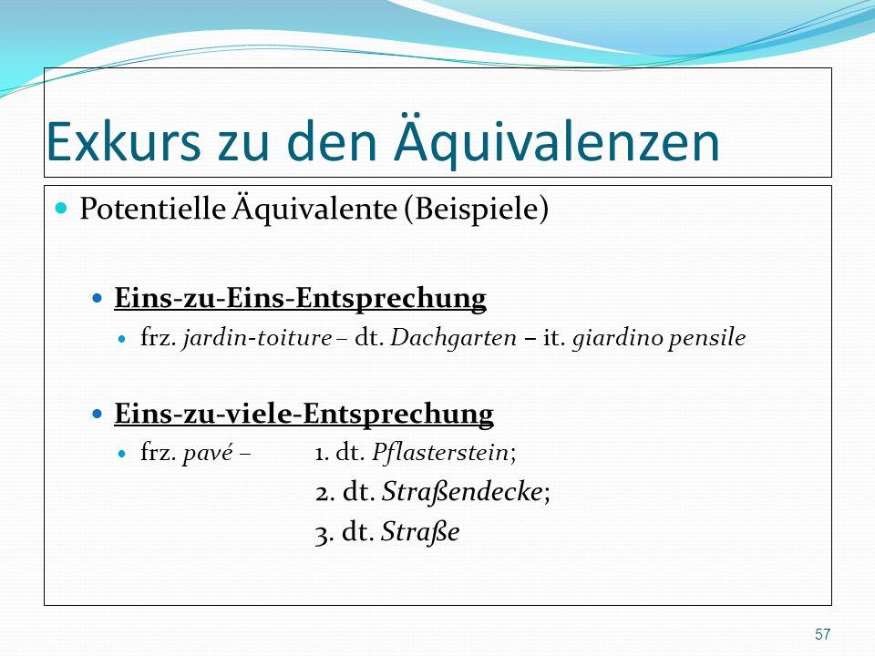 Exkurs zu den Äquivalenzen Potentielle Äquivalente (Beispiele) Eins-zu-Eins-Entsprechung frz. jardin-toiture – dt. Dachgarten – it. giardino pensile E