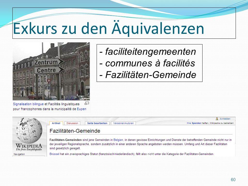 Exkurs zu den Äquivalenzen 60 - faciliteitengemeenten - communes à facilités - Fazilitäten-Gemeinde