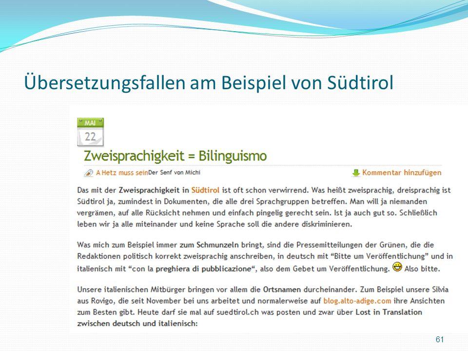 Übersetzungsfallen am Beispiel von Südtirol 61