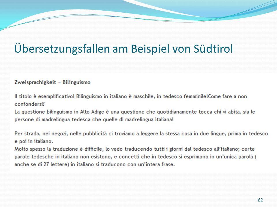 Übersetzungsfallen am Beispiel von Südtirol 62