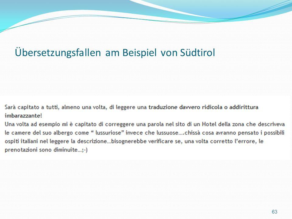 Übersetzungsfallen am Beispiel von Südtirol 63