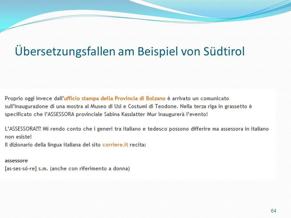 Übersetzungsfallen am Beispiel von Südtirol 64