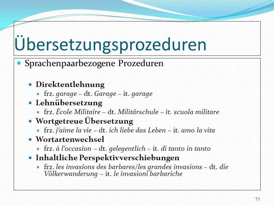 Übersetzungsprozeduren Sprachenpaarbezogene Prozeduren Direktentlehnung frz. garage – dt. Garage – it. garage Lehnübersetzung frz. École Militaire – d