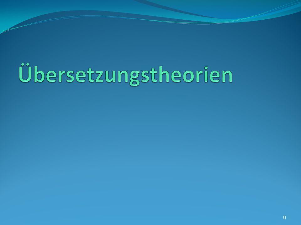 Übersetzungstheorien Die drei Hauptrichtungen der Übersetzungstheorie http://apuzik.deutschesprache.ru/Uebers_Theorien.pdf 20