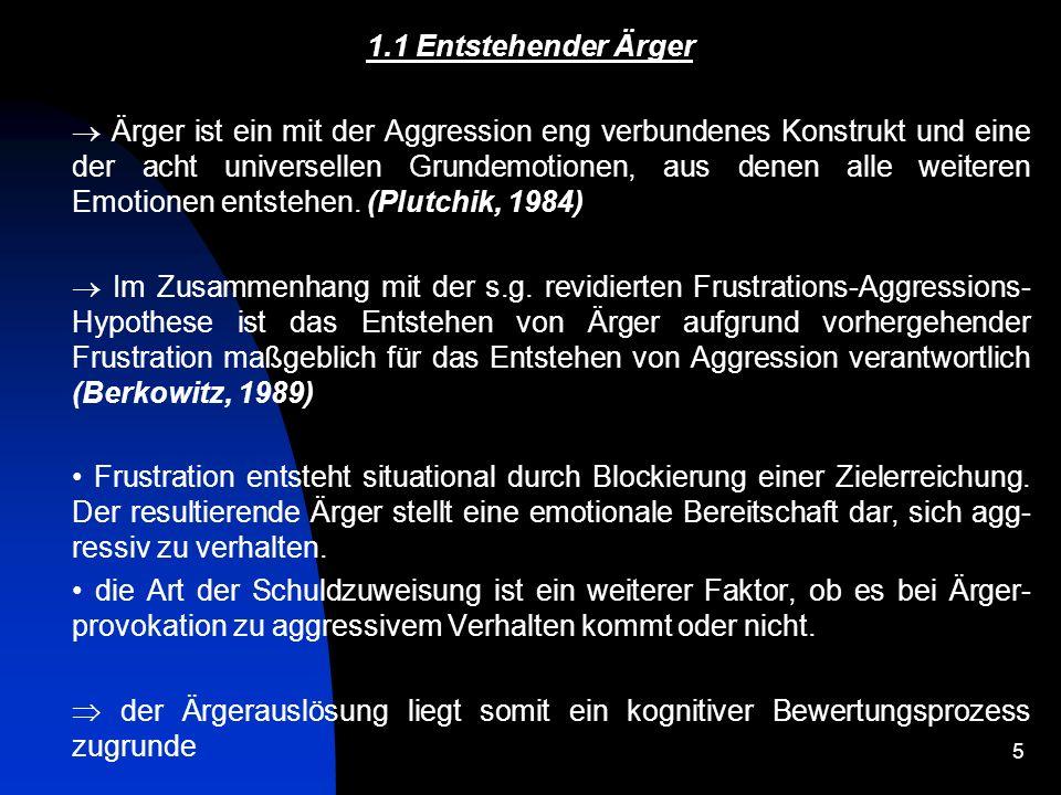 6 1.1 Entstehender Ärger Bandura (1983): Ärger entsteht vor allem bei Beleidigungen, verbalen und körperlichen Angriffen, Behinderung der Zielerreichung oder Belohnungs- entzug.