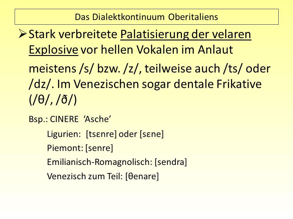 Das Dialektkontinuum Oberitaliens Stark verbreitete Palatisierung der velaren Explosive vor hellen Vokalen im Anlaut meistens /s/ bzw. /z/, teilweise