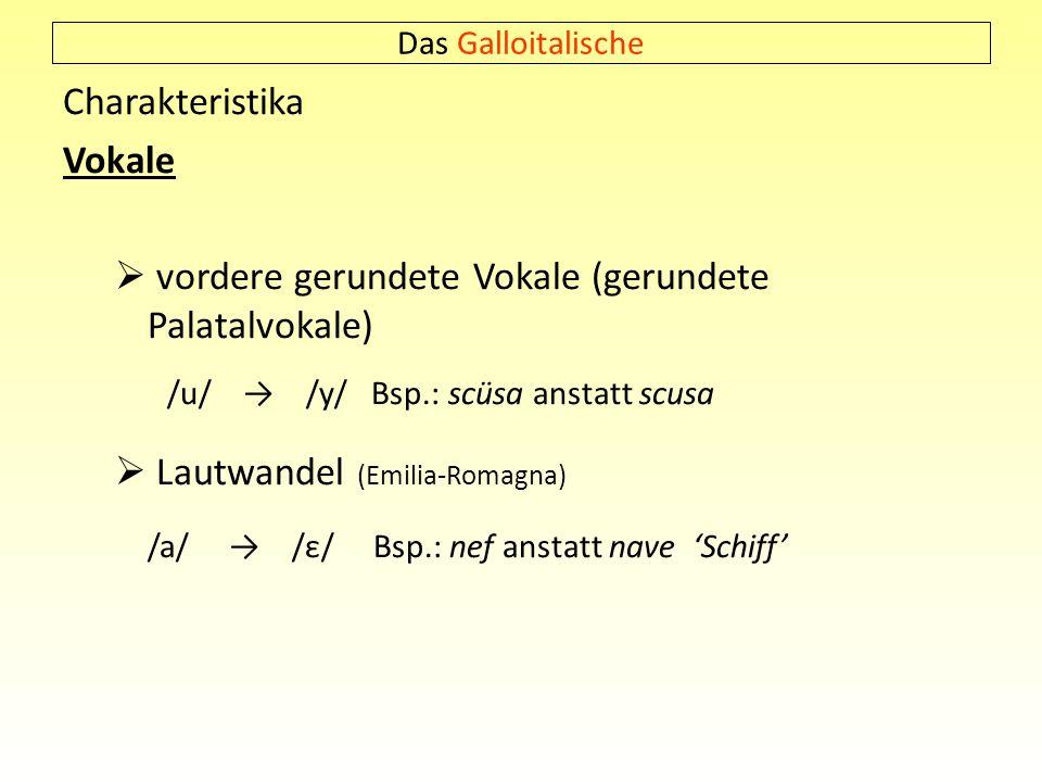 Das Galloitalische Charakteristika Vokale vordere gerundete Vokale (gerundete Palatalvokale) /u/ /y/ Bsp.: scüsa anstatt scusa Lautwandel (Emilia-Roma