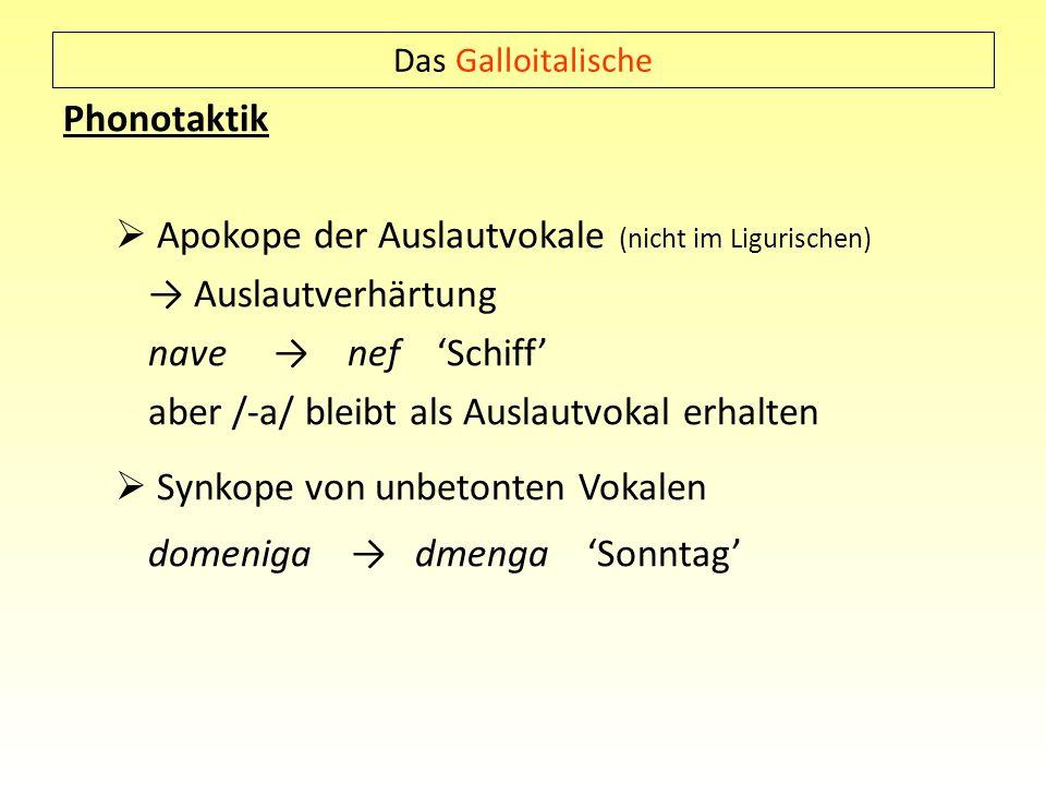 Das Galloitalische Phonotaktik Apokope der Auslautvokale (nicht im Ligurischen) Auslautverhärtung nave nef Schiff aber /-a/ bleibt als Auslautvokal er