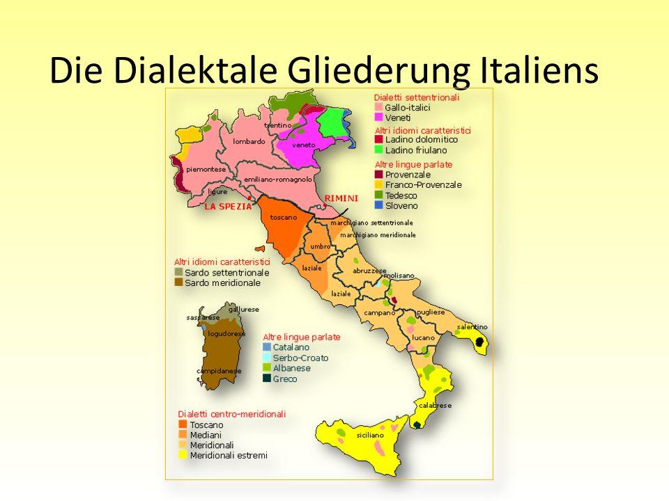 Laterale Dialekte Unteritaliens und Dialekte Siziliens Lateinisches LL wird zu einem langen Retroflex, orthografisch meist dd: bello schön wird zu beddu Funktionale Trennung von Hilfsverb und Vollverb bei haben und sein: Hilfsverb – erwartungsgemäß Formen von HABERE und ESSE; die entsprechenden Vollverben gehen jedoch auf TENERE halten und STARE stehen zurück (wie im Spanischen) Gebrauch ist auch im Regionalitalienisch üblich: Sto qui.