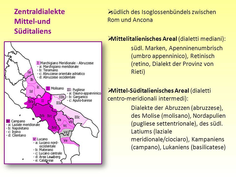 südlich des Isoglossenbündels zwischen Rom und Ancona Mittelitalienisches Areal (dialetti mediani): südl. Marken, Apenninenumbrisch (umbro appenninico