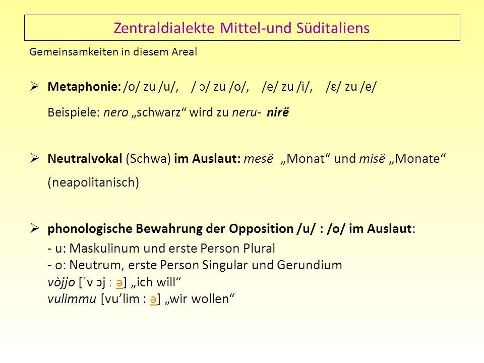 Zentraldialekte Mittel-und Süditaliens Gemeinsamkeiten in diesem Areal Metaphonie: /o/ zu /u/, / ɔ/ zu /o/, /e/ zu /i/, /ɛ/ zu /e/ Beispiele: nero sch