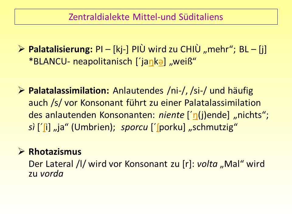 Zentraldialekte Mittel-und Süditaliens Palatalisierung: PI – [kj-] PIÙ wird zu CHIÙ mehr; BL – [j] *BLANCU- neapolitanisch [´jaŋkə] weißŋə Palatalassi