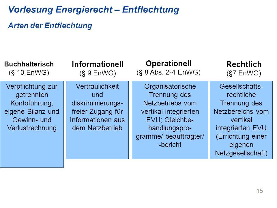 15 Vorlesung Energierecht – Entflechtung Arten der Entflechtung Buchhalterisch (§ 10 EnWG) Rechtlich (§7 EnWG) Verpflichtung zur getrennten Kontoführu