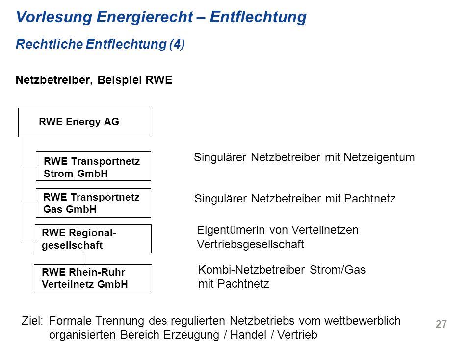 27 Vorlesung Energierecht – Entflechtung Rechtliche Entflechtung (4) Netzbetreiber, Beispiel RWE RWE Energy AG RWE Transportnetz Strom GmbH RWE Transp