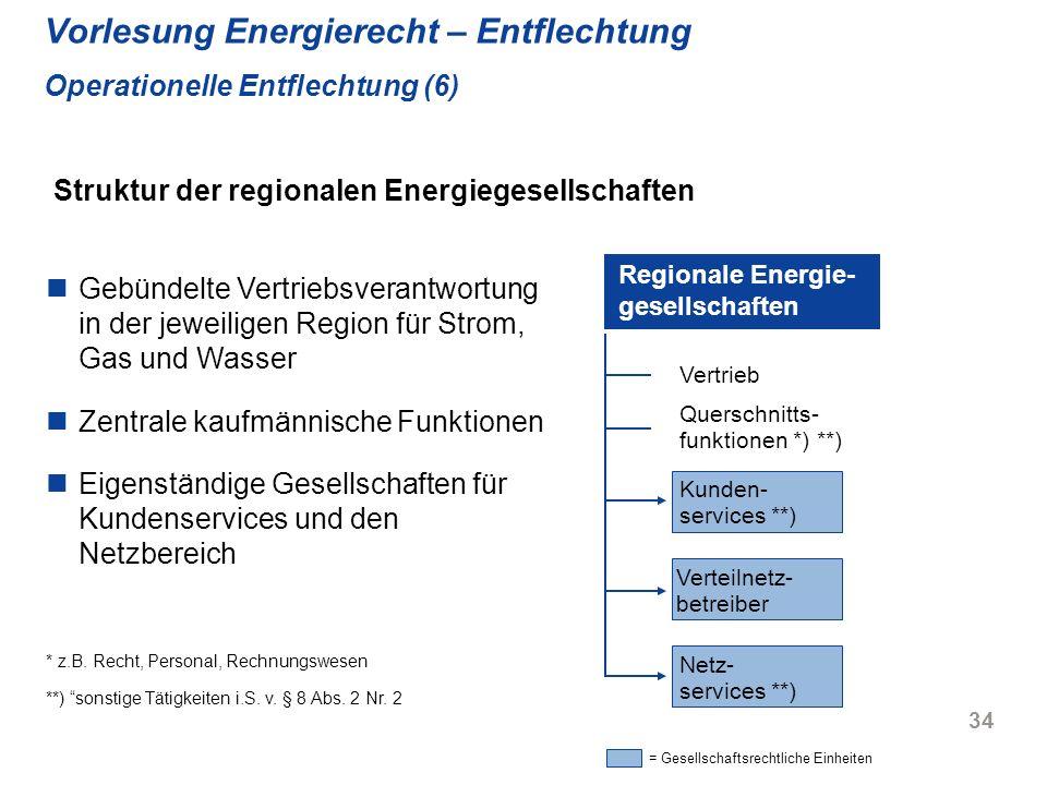 34 Vorlesung Energierecht – Entflechtung Operationelle Entflechtung (6) Gebündelte Vertriebsverantwortung in der jeweiligen Region für Strom, Gas und