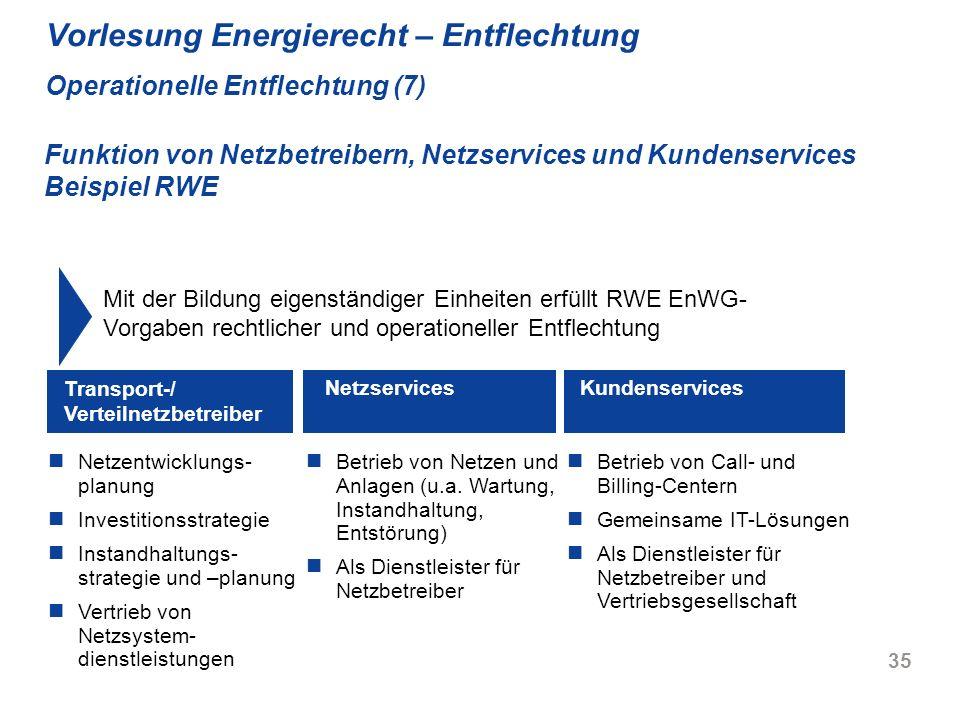 35 Vorlesung Energierecht – Entflechtung Operationelle Entflechtung (7) Netzentwicklungs- planung Investitionsstrategie Instandhaltungs- strategie und