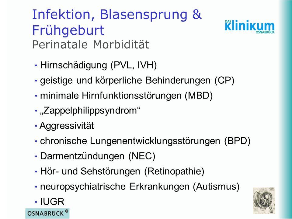 Infektion, Blasensprung & Frühgeburt Perinatale Morbidität Hirnschädigung (PVL, IVH) geistige und körperliche Behinderungen (CP) minimale Hirnfunktion