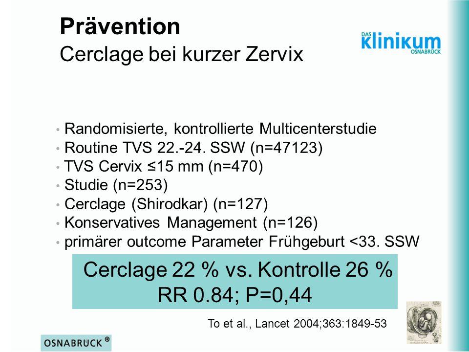 Prävention Cerclage bei kurzer Zervix To et al., Lancet 2004;363:1849-53 Randomisierte, kontrollierte Multicenterstudie Routine TVS 22.-24. SSW (n=471