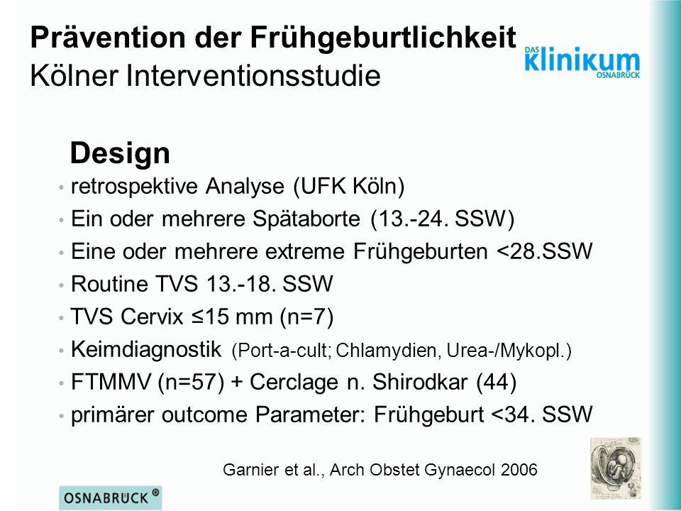 Garnier et al., Arch Obstet Gynaecol 2006 retrospektive Analyse (UFK Köln) Ein oder mehrere Spätaborte (13.-24. SSW) Eine oder mehrere extreme Frühgeb