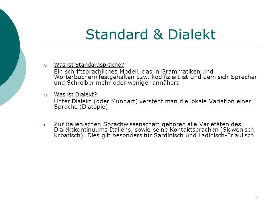 3 Standard & Dialekt Was ist Standardsprache? Was ist Standardsprache? Ein schriftsprachliches Modell, das in Grammatiken und Wörterbüchern festgehalt
