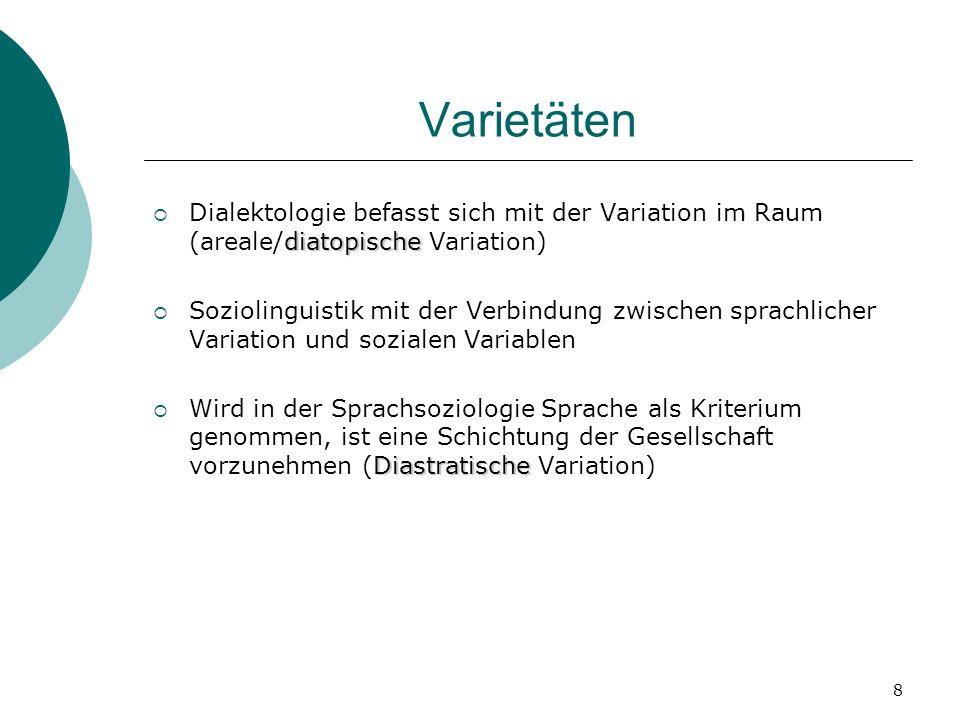 8 Varietäten diatopische Dialektologie befasst sich mit der Variation im Raum (areale/diatopische Variation) Soziolinguistik mit der Verbindung zwisch