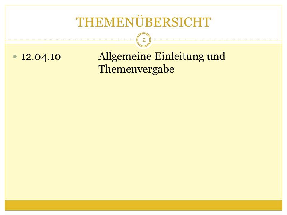 THEMENÜBERSICHT 12.04.10Allgemeine Einleitung und Themenvergabe 2