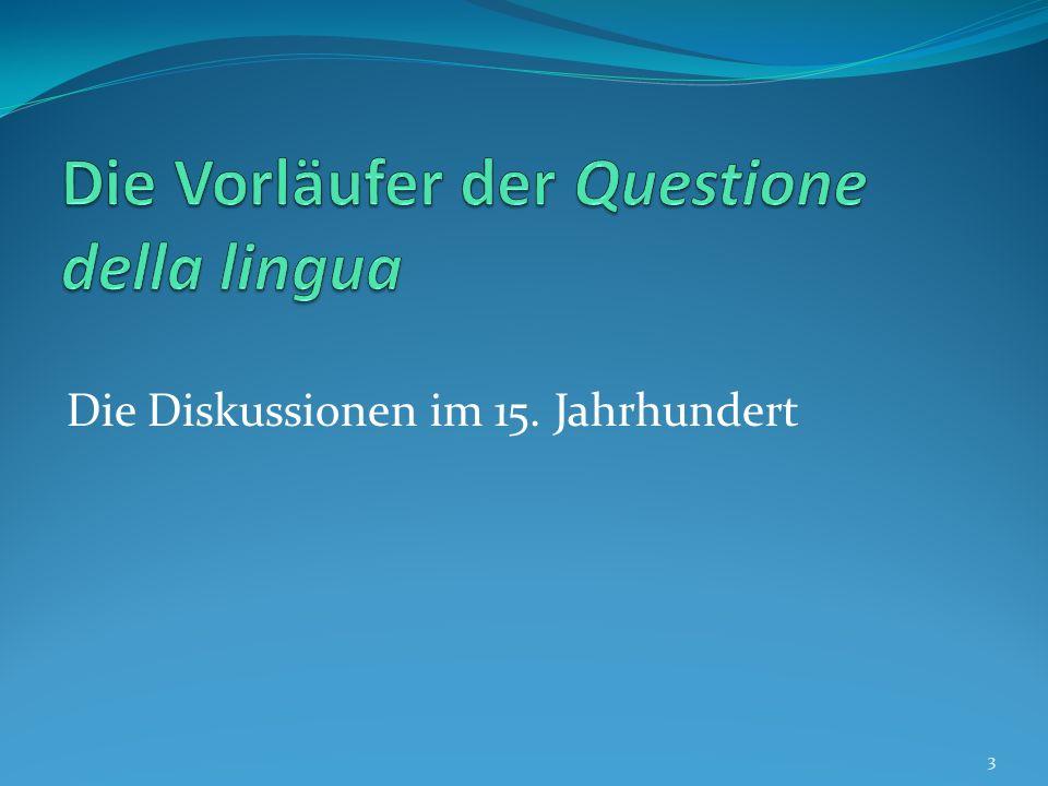 Die Questione della lingua Zu den prominentesten Gegnern der Ideen Manzonis gehörte der Dialektologe Graziadio Isaia Ascoli (1829- 1907).