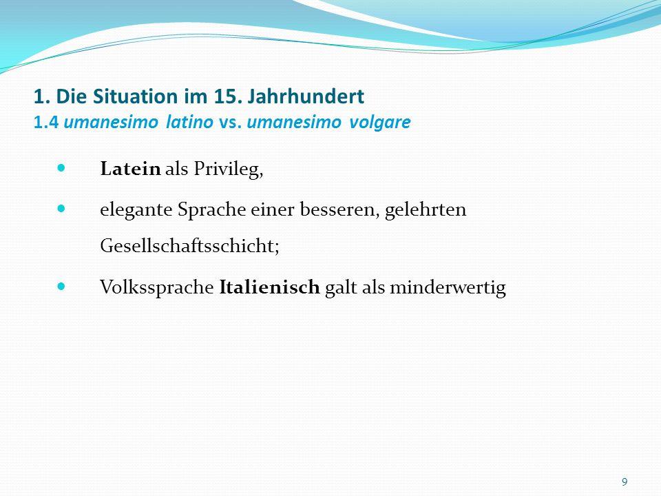 Die Questione della lingua Die Anhänger und Gegner des Lateinischen Zu Beginn des 16.