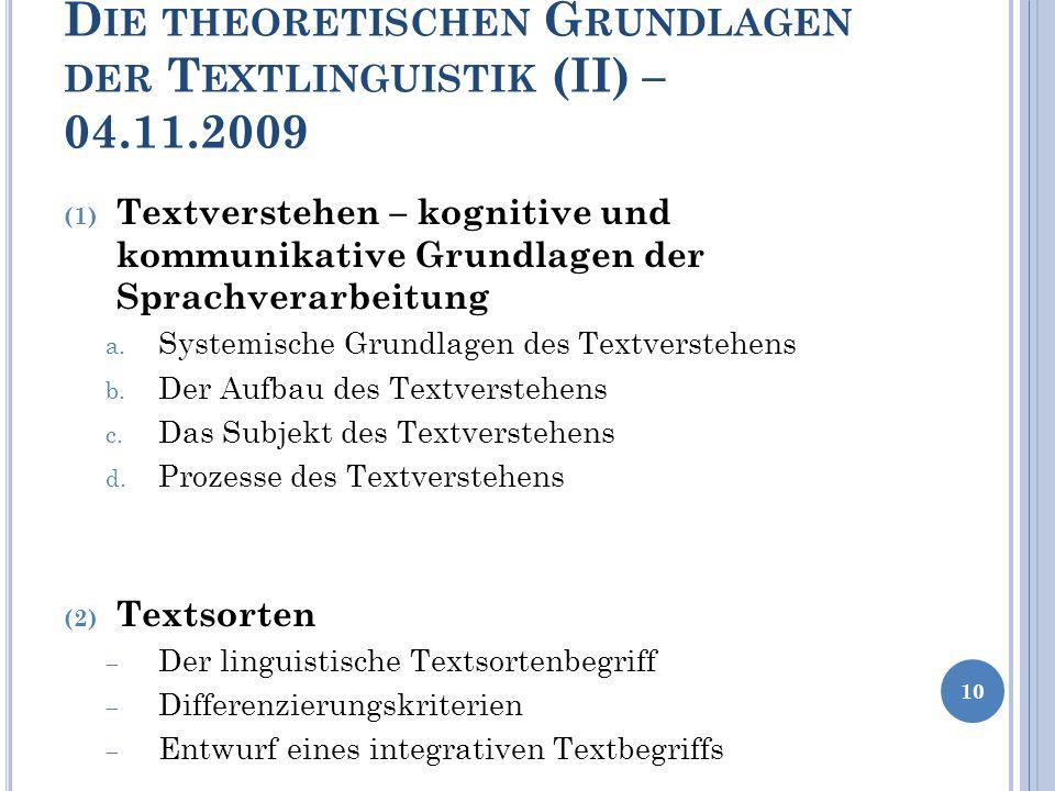 D IE THEORETISCHEN G RUNDLAGEN DER T EXTLINGUISTIK (II) – 04.11.2009 (1) Textverstehen – kognitive und kommunikative Grundlagen der Sprachverarbeitung
