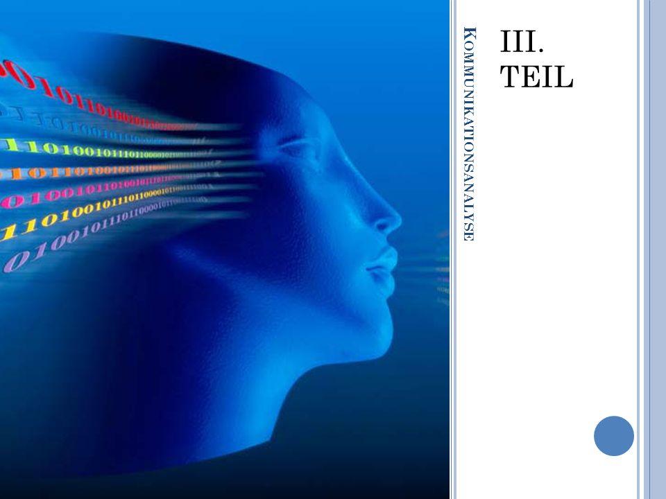 K OMMUNIKATIONSANALYSE III. TEIL